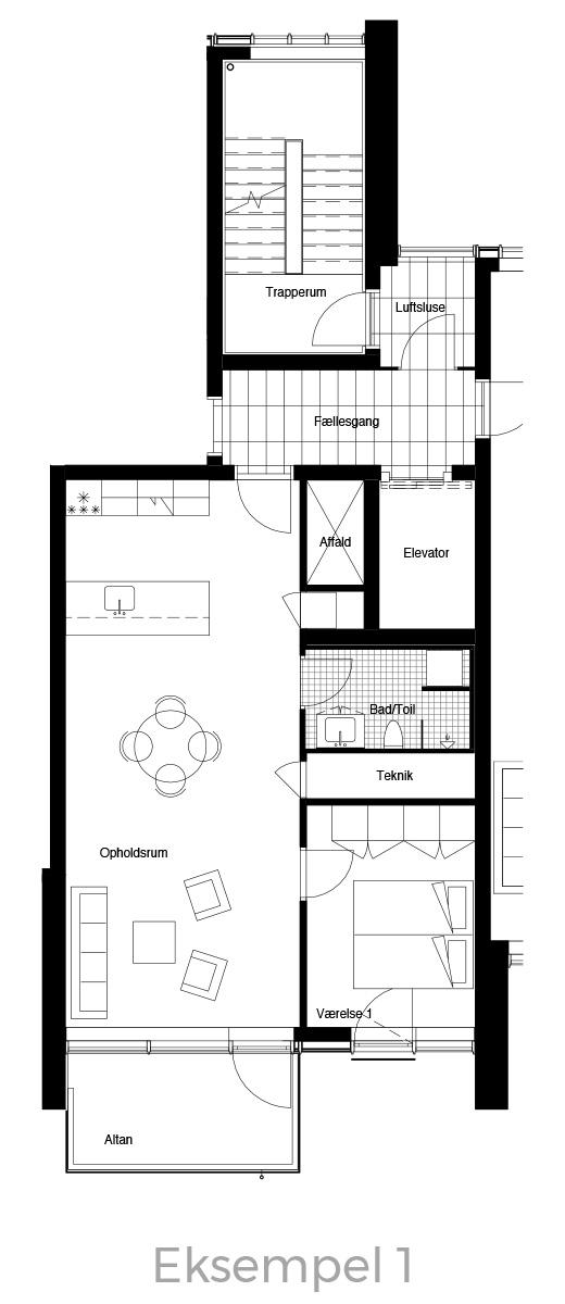 2-værelses lejlighed oversigt - Havneholmen Aarhus - eksempel 1