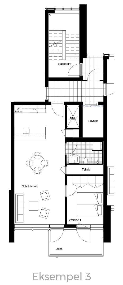 2-værelses lejlighed oversigt - Havneholmen Aarhus - eksempel 3