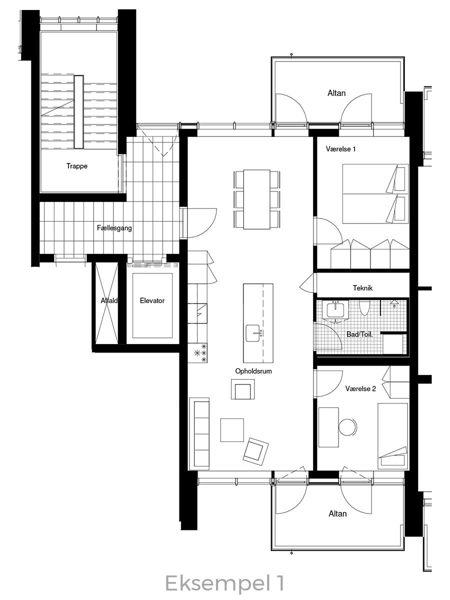 3-værelses lejlighed oversigt - Havneholmen Aarhus - eksempel 1