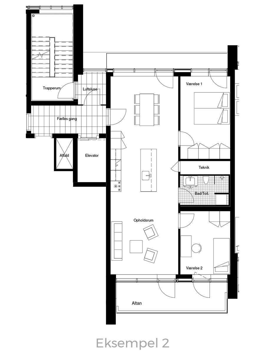 3-værelses lejlighed oversigt - Havneholmen Aarhus - eksempel 2
