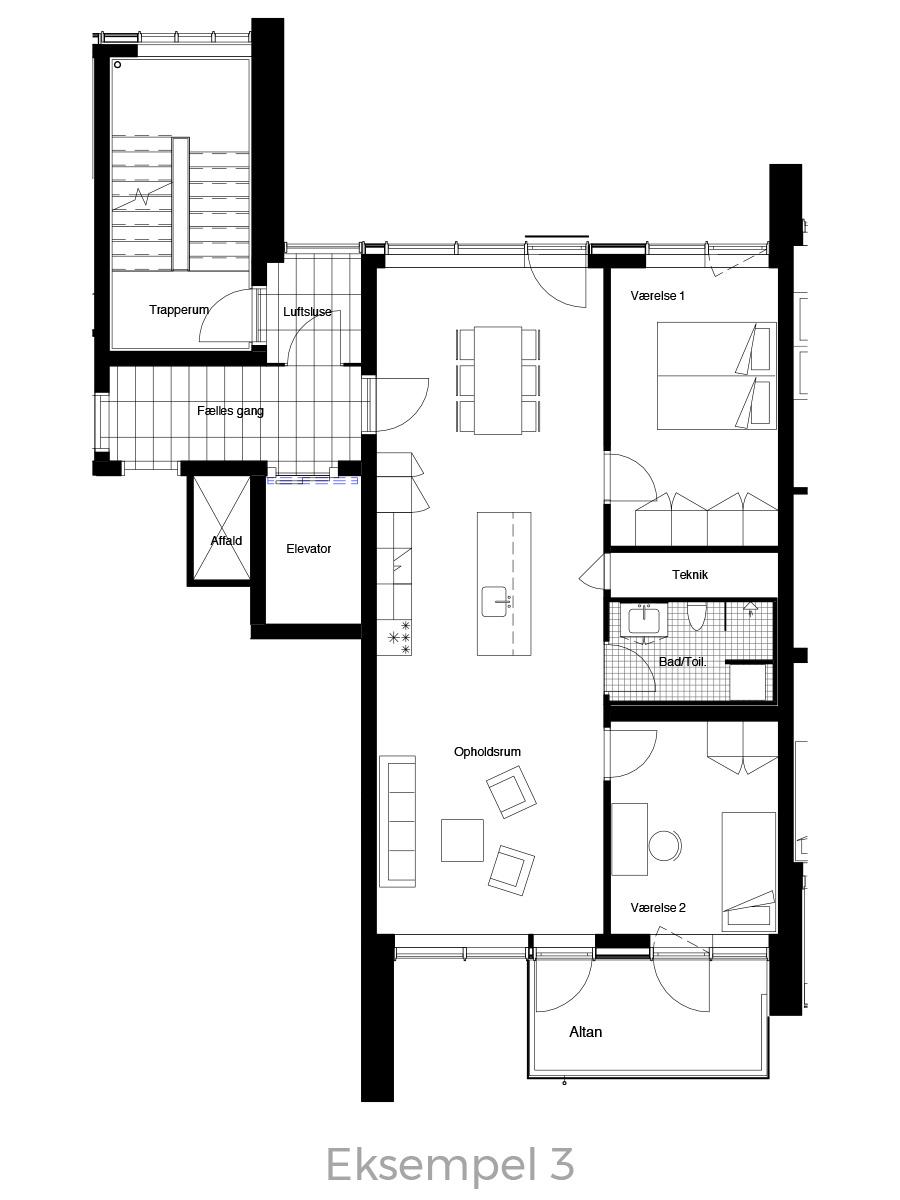 3-værelses lejlighed oversigt - Havneholmen Aarhus - eksempel 3