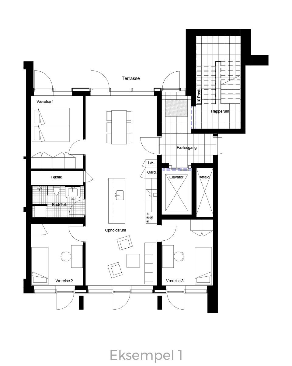 4-værelses lejlighed oversigt - Havneholmen Aarhus - eksempel 1