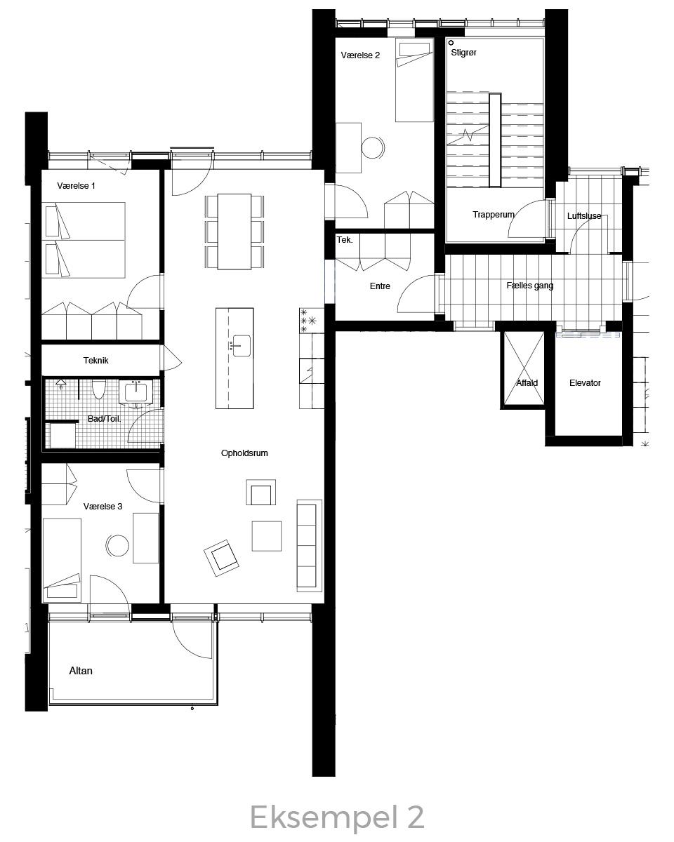 4-værelses lejlighed oversigt - Havneholmen Aarhus - eksempel 2