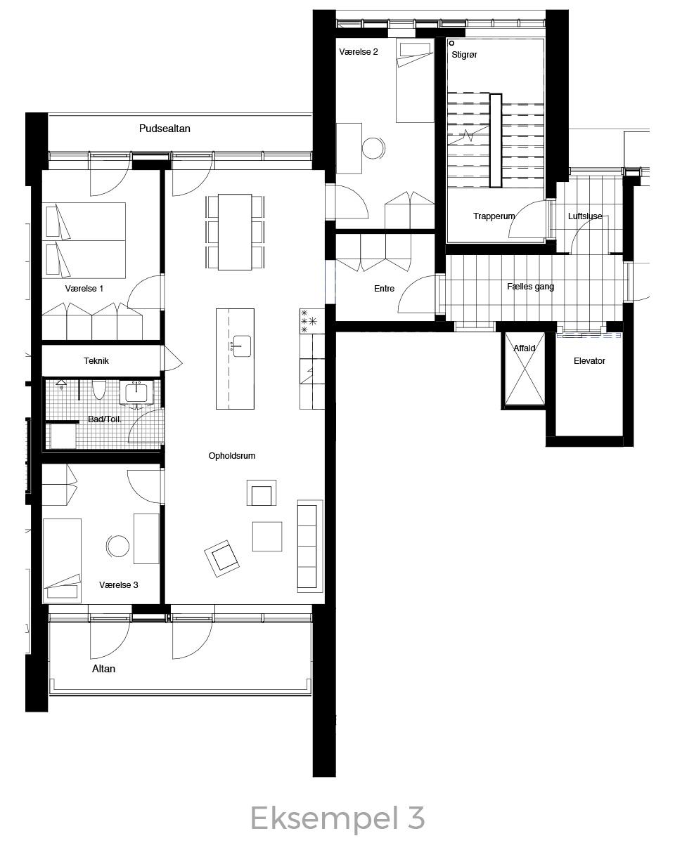 4-værelses lejlighed oversigt - Havneholmen Aarhus - eksempel 3