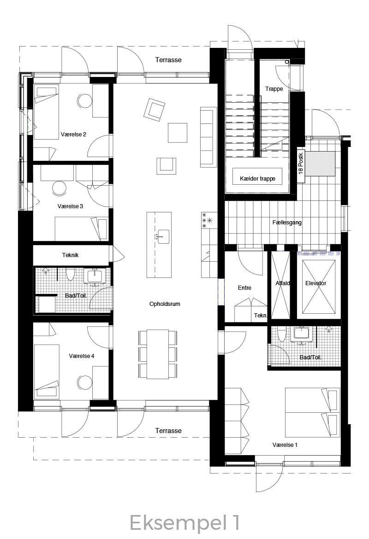 5-værelses lejlighed oversigt - Havneholmen Aarhus - eksempel 1