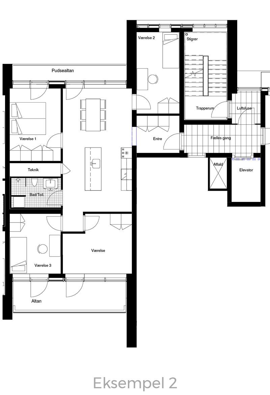 5-værelses lejlighed oversigt - Havneholmen Aarhus - eksempel 2