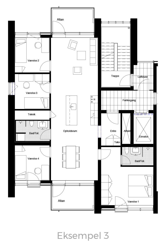 5-værelses lejlighed oversigt - Havneholmen Aarhus - eksempel 3